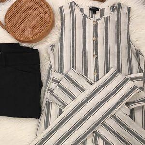 Who What Wear Striped Sleeveless Wrap Blouse